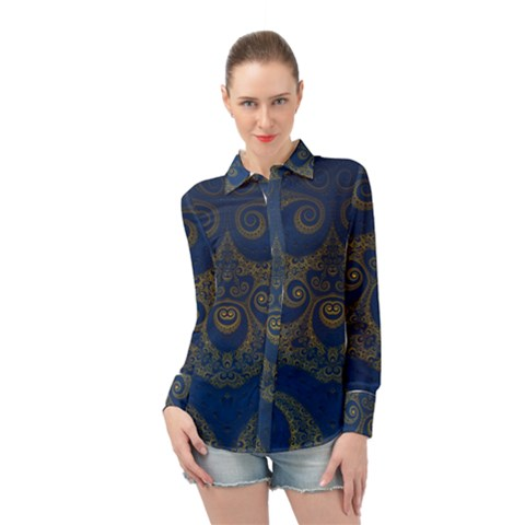 Navy Blue And Gold Swirls Long Sleeve Chiffon Shirt by SpinnyChairDesigns