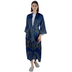 Navy Blue And Gold Swirls Maxi Satin Kimono by SpinnyChairDesigns