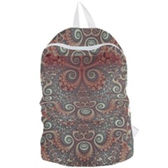 Red And White Color Swirls Foldable Lightweight Backpack by SpinnyChairDesigns