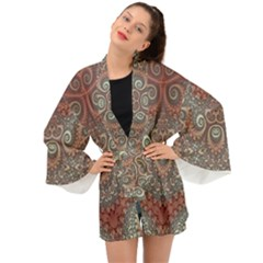 Red And White Color Swirls Long Sleeve Kimono by SpinnyChairDesigns