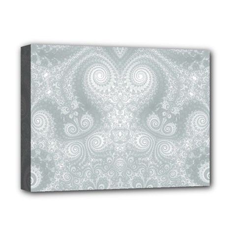 Ash Grey White Swirls Deluxe Canvas 16  X 12  (stretched)