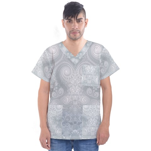 Ash Grey White Swirls Men s V-neck Scrub Top by SpinnyChairDesigns