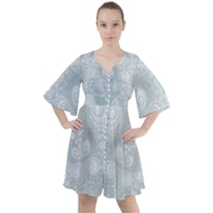 Ash Grey White Swirls Boho Button Up Dress
