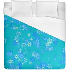 Aqua Blue Floral Print Duvet Cover (king Size) by SpinnyChairDesigns