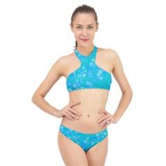 Aqua Blue Floral Print High Neck Bikini Set by SpinnyChairDesigns