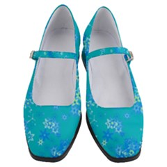 Aqua Blue Floral Print Women s Mary Jane Shoes by SpinnyChairDesigns