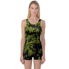 Nature Dark Camo Print One Piece Boyleg Swimsuit