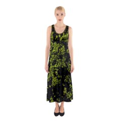 Nature Dark Camo Print Sleeveless Maxi Dress