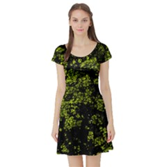 Nature Dark Camo Print Short Sleeve Skater Dress