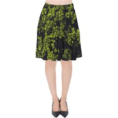 Nature Dark Camo Print Velvet High Waist Skirt