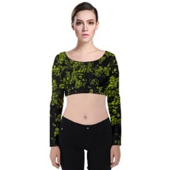 Nature Dark Camo Print Velvet Long Sleeve Crop Top