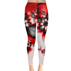 Abstract Red Black Floral Print Leggings  by SpinnyChairDesigns