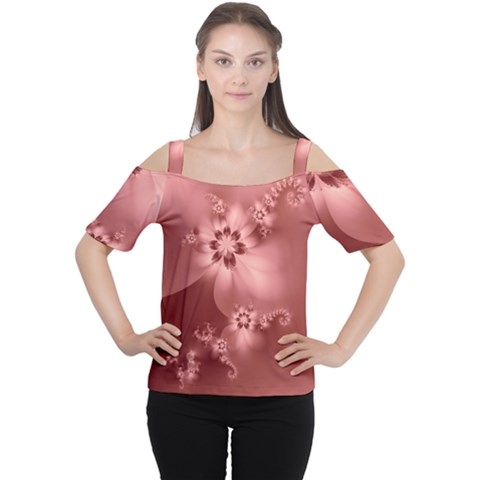 Coral Pink Floral Print Cutout Shoulder Tee by SpinnyChairDesigns