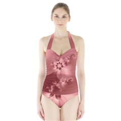 Coral Pink Floral Print Halter Swimsuit by SpinnyChairDesigns