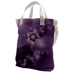 Royal Purple Floral Print Canvas Messenger Bag