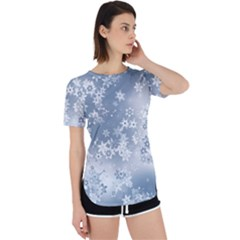 Faded Blue White Floral Print Perpetual Short Sleeve T-shirt