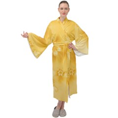 Saffron Yellow Floral Print Maxi Velour Kimono by SpinnyChairDesigns