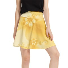 Saffron Yellow Floral Print Waistband Skirt