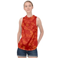 Orange Red Floral Print High Neck Satin Top by SpinnyChairDesigns
