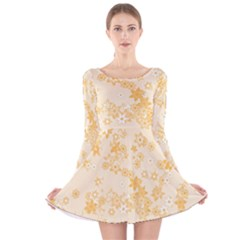Yellow Flowers Floral Print Long Sleeve Velvet Skater Dress