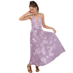 Lavender And White Flowers Backless Maxi Beach Dress