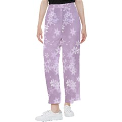 Lavender And White Flowers Women s Pants