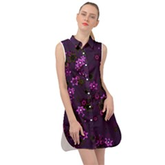 Purple Flowers Sleeveless Shirt Dress by SpinnyChairDesigns