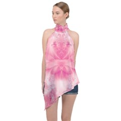 Pink Floral Pattern Halter Asymmetric Satin Top by SpinnyChairDesigns