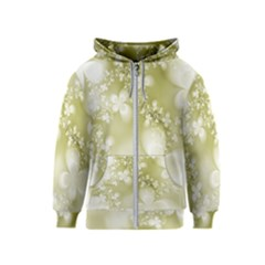 Olive Green With White Flowers Kids  Zipper Hoodie