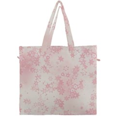 Baby Pink Floral Print Canvas Travel Bag by SpinnyChairDesigns