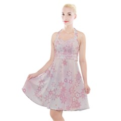 Baby Pink Floral Print Halter Party Swing Dress