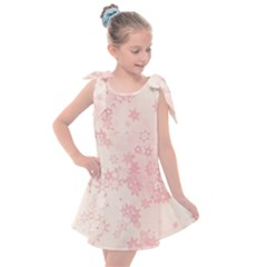 Baby Pink Floral Print Kids  Tie Up Tunic Dress