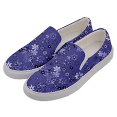 Slate Blue With White Flowers Men s Canvas Slip Ons by SpinnyChairDesigns