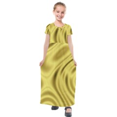 Golden Wave  Kids  Short Sleeve Maxi Dress by Sabelacarlos
