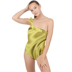Golden Wave Frilly One Shoulder Swimsuit by Sabelacarlos