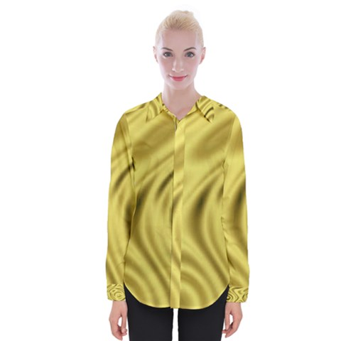 Golden Wave Womens Long Sleeve Shirt by Sabelacarlos