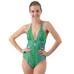 Boho Green Floral Print Halter Cut-out One Piece Swimsuit by SpinnyChairDesigns