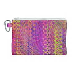 Boho Fuchsia Floral Print  Canvas Cosmetic Bag (large) by SpinnyChairDesigns