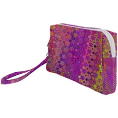 Boho Fuchsia Floral Print  Wristlet Pouch Bag (small) by SpinnyChairDesigns