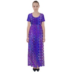 Boho Purple Floral Print High Waist Short Sleeve Maxi Dress