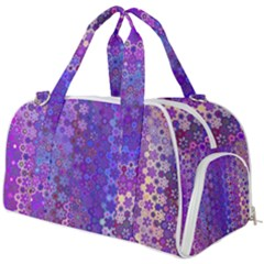 Boho Purple Floral Print Burner Gym Duffel Bag