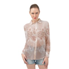 Tan White Floral Print Long Sleeve Chiffon Shirt