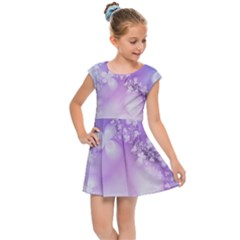 White Purple Floral Print Kids  Cap Sleeve Dress by SpinnyChairDesigns