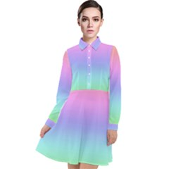 Pastel Rainbow Ombre Gradient Long Sleeve Chiffon Shirt Dress by SpinnyChairDesigns