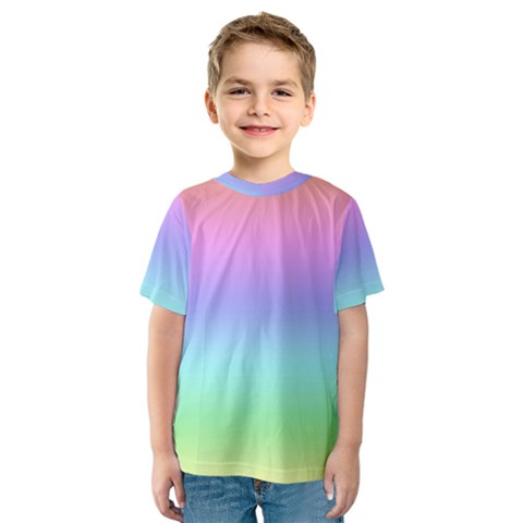 Pastel Rainbow Ombre Gradient Kids  Sport Mesh Tee by SpinnyChairDesigns