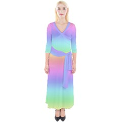 Pastel Rainbow Ombre Gradient Quarter Sleeve Wrap Maxi Dress by SpinnyChairDesigns