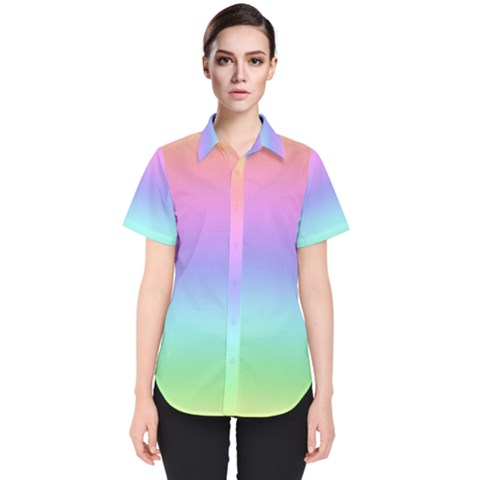 Pastel Rainbow Ombre Gradient Women s Short Sleeve Shirt by SpinnyChairDesigns