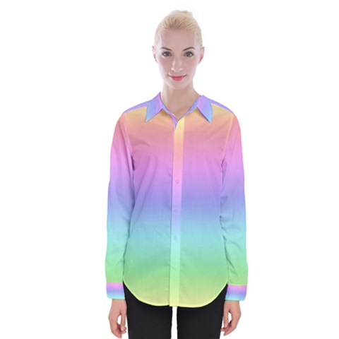 Pastel Rainbow Ombre Gradient Womens Long Sleeve Shirt by SpinnyChairDesigns