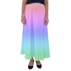Pastel Rainbow Ombre Gradient Flared Maxi Skirt by SpinnyChairDesigns