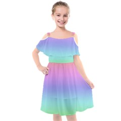 Pastel Rainbow Ombre Gradient Kids  Cut Out Shoulders Chiffon Dress by SpinnyChairDesigns